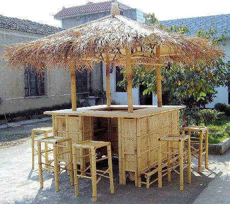 Real bamboo tiki bars for home for Garden hut sale